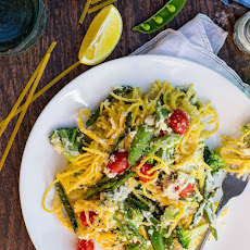 Pasta with Lemon Almond Ricotta & Spring Vegetables {gf+v}