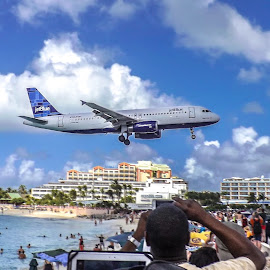 JetBlue Coming in for a Landing by Nick Goetz - Transportation Airplanes ( airplane, ocean, st.maarten, beach, jet )