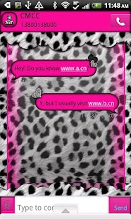 GO SMS THEME/LovePinkLeopard - screenshot