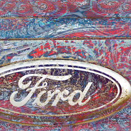 Ford by Joerg Schlagheck - Digital Art Abstract ( hippie., cool, colour, pattern, color, texture, dirt, ford )