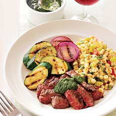 Spicy Skirt Steak Chimichurri and Corn Chili