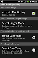 Screenshot of Vibrate During Meetings