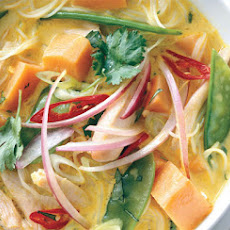 Spicy Curry Noodle Soup with Chicken and Sweet Potato