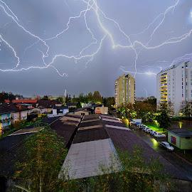 Lightning Dance by Bojan Porenta - City,  Street & Park  Skylines ( lightning, electrical, weather, dance )