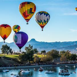 Havasu ballons and  boats by Robert Keas - Transportation Other ( golf course, boats, arizona, lake havasu, marina, balloon )