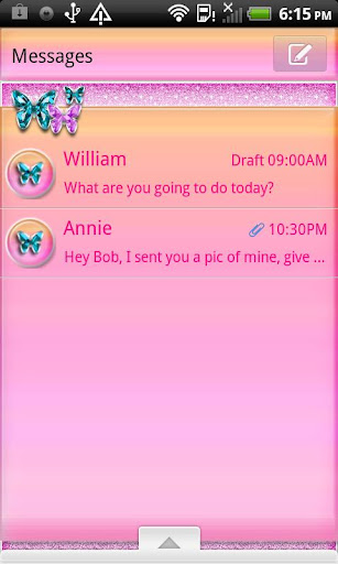 GO SMS THEME PinkSerenity