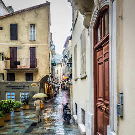 French Rain by Jane Taubman - City,  Street & Park  Street Scenes ( umbrella, villfrance, france, rain )