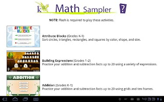 Screenshot of K12 Math Sampler