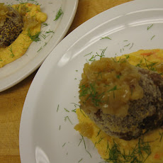 Polpettone with Onion-Shallot Jam over Creamy Root Vegetable Purée