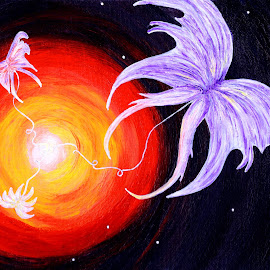 Butterfly Angels by Rayleen Hall - Painting All Painting ( angel, orange, butterfly, butterflies, stars, space, angels, universe )