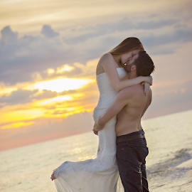 Trashing the Dress by Brooke Armendinger - Wedding Other ( bride+groom, sunset, beach, trash the dress )