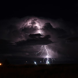 Colorado Light Show by Laurie Ramsey - Landscapes Weather ( thunder, thunderstorm, colorado, landscape, storm, photography, lightning, colorado springs, nature, weather, springs, storms, landscapes )