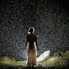 In The Rain by Randy Jackson - Wedding Bride ( flash, wedding, umbrella, outdoors, wet, bride, rain )