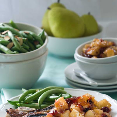 Gluten Free Brined Pork Chops with Spicy Pear Chutney