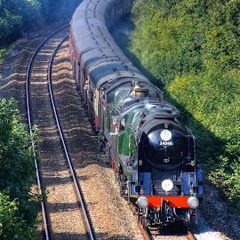Steam Train  by Drew N - Transportation Trains ( vintage, locomotive, steam train, train, tracks )