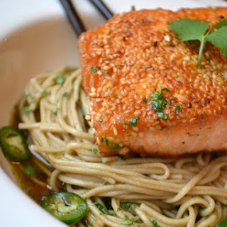 Sesame Salmon with Sweet Jalapeño Soba Noodles