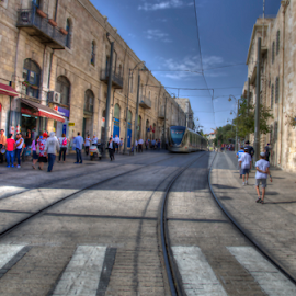 Jerusalem Srteet by Yuval Shlomo - City,  Street & Park  Neighborhoods ( jerusalem srteet, street, train )