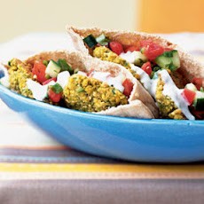 Falafel Pitas with Goat Cheese Sauce