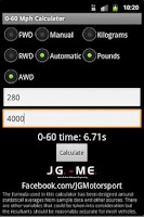Screenshot of 0-60 Mph Calculator