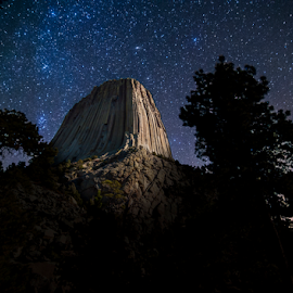 The Tower in the stars by Darren Small - Landscapes Caves & Formations ( tower, park, nature, national, wyoming, stone, night, monument, rock, devil's )