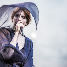 Florence And The Machine by Kim Erlandsen - News & Events Entertainment ( music, florence and the machine, wind, concert, red hair, blue, festival, artist )