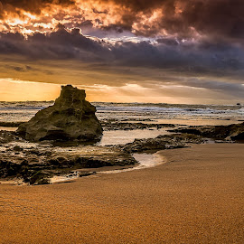 Another Sunset by Keith Walmsley - Landscapes Sunsets & Sunrises ( clouds, water, sand, nature, landscape, rocks, natural )