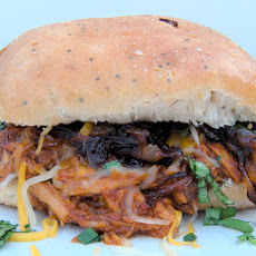Crockpot BBQ Root Beer Shredded Chicken Sandwiches