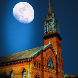 St. Patrick's Church by Phil Deets - Buildings & Architecture Places of Worship ( church, brick, franklin, night, pennsylvania, st. patrick, historic, moonlight,  )