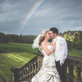 Sunshine On a Rainy Day by Paul Eyre - Wedding Bride & Groom ( kiss, married, wedding, couple, sunshine, rainbow, rain )