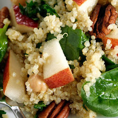 Quinoa Salad Recipe with Pears, Baby Spinach and Chick Peas in a Maple Vinaigrette
