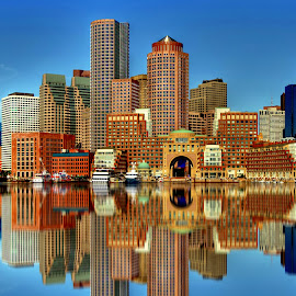 Boston SkyLine by Rahul Phutane - City,  Street & Park  Skylines ( water, rahulphutane, building, skyline, boston, rahul )