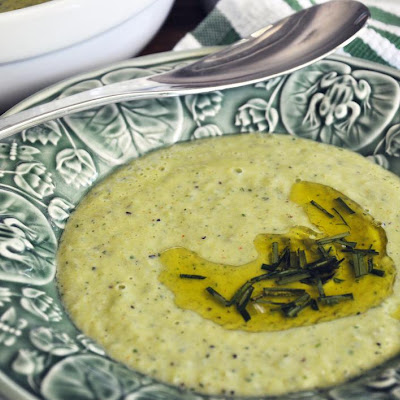 Cool Herbed Cucumber Soup with Chive Oil