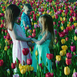 Siblings In The Tulip Fields by Penny Lulich - Babies & Children Children Candids ( children, tulips, photography )
