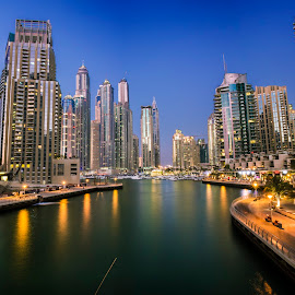 Marina Walk by Kingsly Xavier George - City,  Street & Park  Street Scenes ( night photography, dubai, wide angle, canon eos 7d, blue hour, uae, dubai marina, cityscape, marina, landscape )