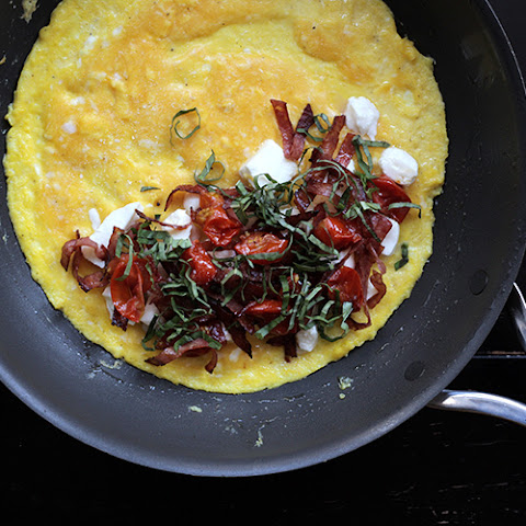 Salami, Oven-Roasted Tomato, Mozzarella, and Basil Omelette