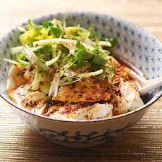 Spicy Warm Silken Tofu with Celery and Cilantro Salad