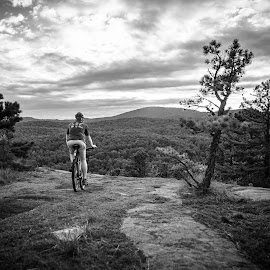 Cedar Mountain Mountain Biker by Tom Moors - Sports & Fitness Cycling ( mountain biking, black and white, dupont state forest, dupont state forest sunset, forest, rock, cedar mountain )