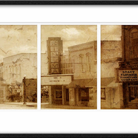 The Cinema by Diane Johnson - City,  Street & Park  Historic Districts ( sepia, movie theatre, road, old building )