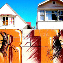 Girls, Venice Beach  by Ronnie Caplan - City,  Street & Park  Neighborhoods ( curtains, houses, sky, faces, painted, graffiti, windows, women, boards )