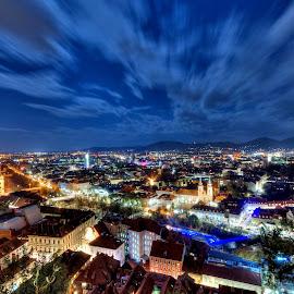 Graz by Péter Mocsonoky - City,  Street & Park  Night ( clouds, moving, blue, night, streets, graz, light, austria, city, nightscape )