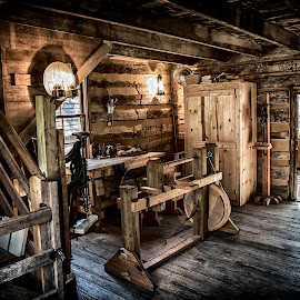 Inside the Cabin by Steve Smith - City,  Street & Park  Historic Districts ( hdr,  )