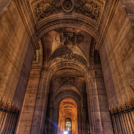 Louvre Passageway by Ben Hodges - Buildings & Architecture Architectural Detail ( paris ·     louvre ·     statue ·     old ·     hdr ·     pyramid ·     fountain ·     france ·     historical ·     public ·     rain · night, long exposure, light, bicycle )