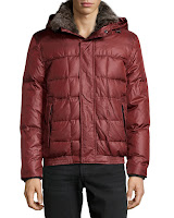 Marc New York by Andrew Marc Fur-Trimmed Hooded Puffer Jacket, Wine - (XXL)
