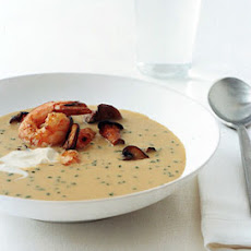 Cream of Cope's Corn Soup with Shrimp and Wild Mushrooms