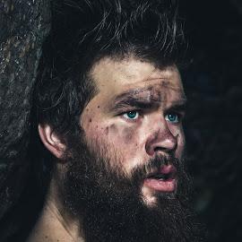 Caveman by Tyler Walker - People Portraits of Men ( strobist, dramatic, caveman, blue eyes, people, man, portrait, eyes )
