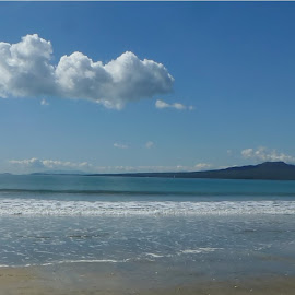 RANGITOTO ISLAND FROM TAKAPUNA BEACH by Maria  Binnie - Landscapes Beaches ( clouds, sand, waves, sea, beach, island )