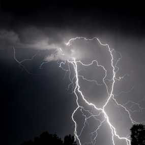 Electric Spaghetti by Marc Rossmann - Landscapes Weather ( flash, strike, lightning, static, silhouette, electric, weather, storm )