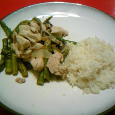 Lemon Chicken and Asparagus Over Rice