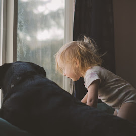 looking out  by Rebecca Koch - People Family ( play, puppy, fun, smile, kid )