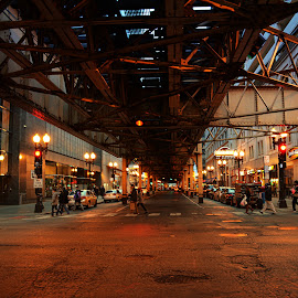 Under the EL  by Tricia Scott - City,  Street & Park  Street Scenes ( cars, cityscape, road, tracks, chicago, elevated train, city )